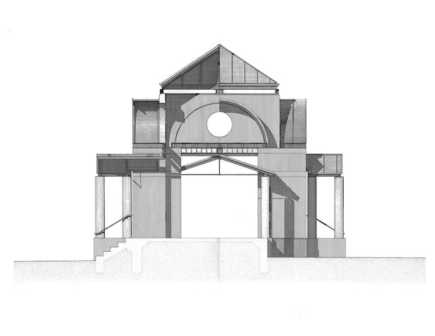 Rapidgraph drawing of Bell Pavillion