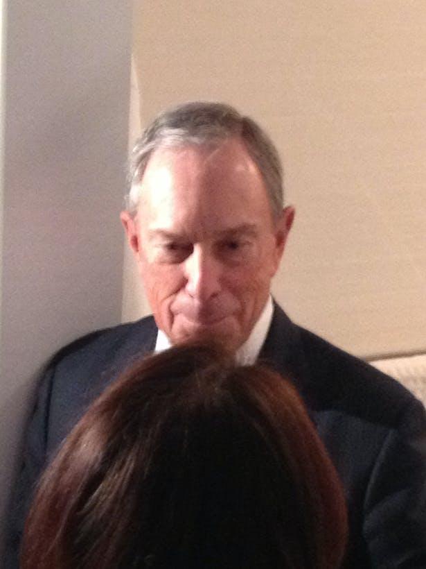 NYC Mayor Michael Bloomberg visiting Minimal USA's GLAM Bathroom at MCNY