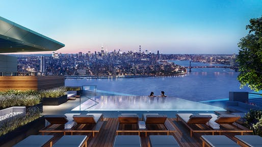Rooftop infinity pool in Kohn Pedersen Fox Associates designed Brooklyn Point tower. Image: Williams New York.