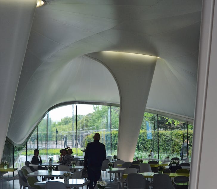 The magazine restaurant designed by Zaha Hadid Architects. Photo by author