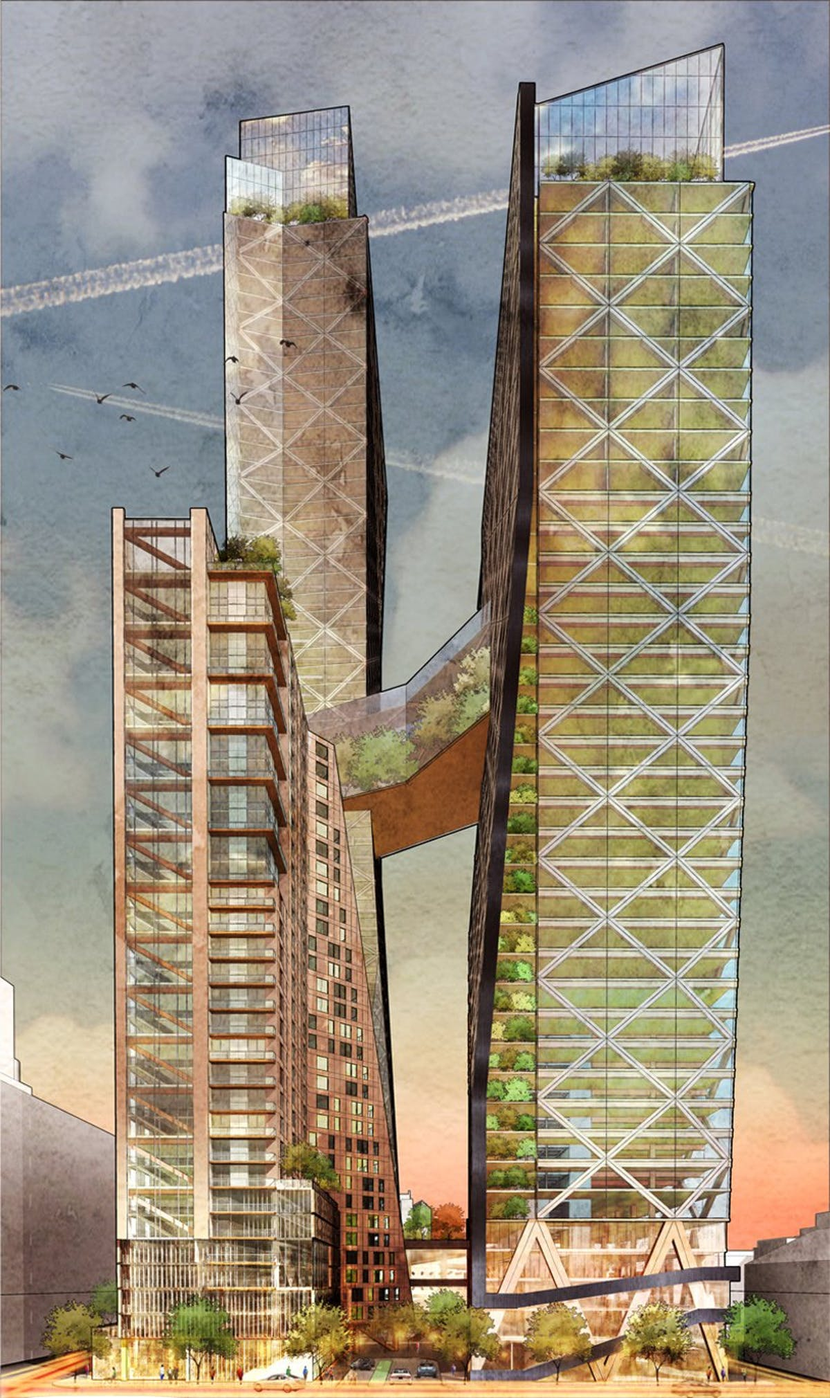 Hickok Cole Architects propose a group of timber skyscrapers for Philadelphia