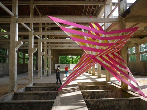 POP IT UP is an installation designed by Anya Sirota + AKOAKI in a defunct tannery in Amilly, France
