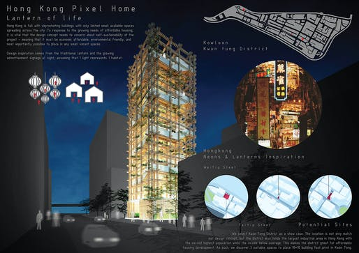 Green Prize: Hong Kong Pixel Homes - Lantern of Lives. Project authors: Danaiporn Pongamornprom, Thongchai Wongsrisuppakul, Veeramon Suwannasang | Thailand