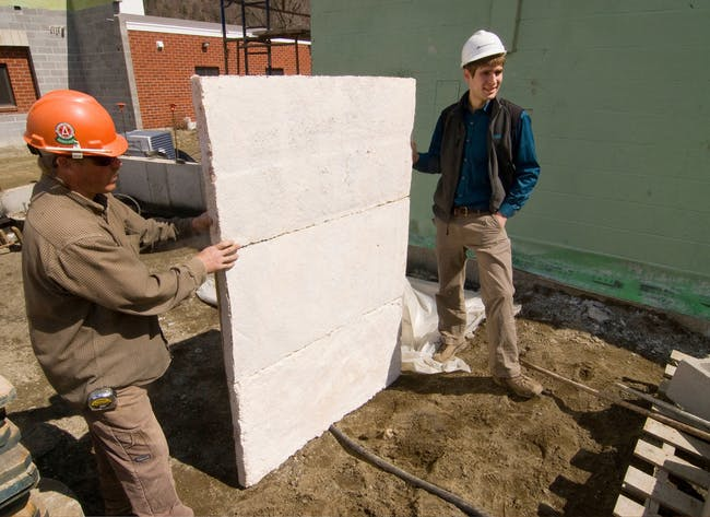Wall panels made from Ecovative's 'mushroom material'
