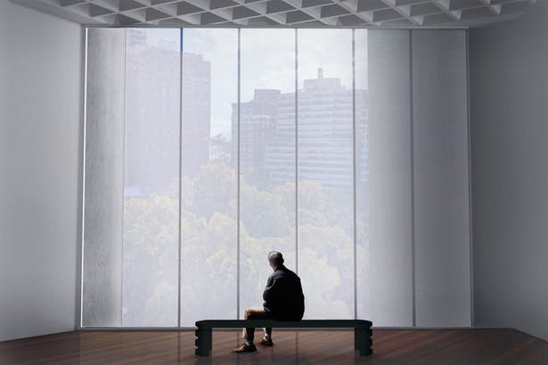 Perspective from Gallery looking out over Rittenhouse Square