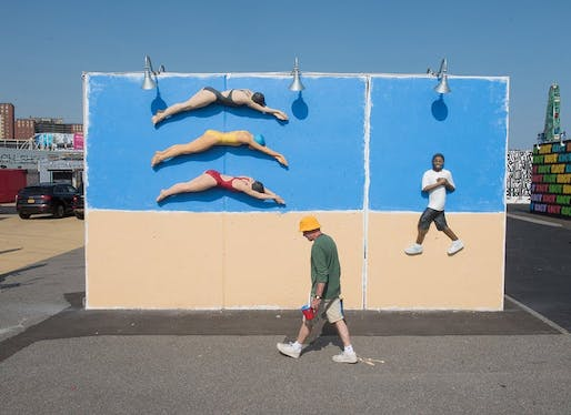 John Ahearn, Swimmers & Eric (happy on the beach), Coney Art Walls, 2016. Image: Martha Cooper.