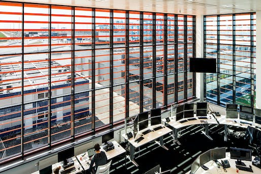 A remote control room in the APM Terminal office building, Rotterdam, 2014. Photographs courtesy of Nelleke de Vries, interior architect.
