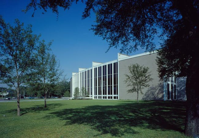 A view of Cullinan Hall from the north lawn, shortly after the building's completion via www.mfah.org