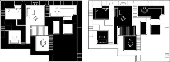 Level 1: [Left] Suburb Family, [Right] Hoarder