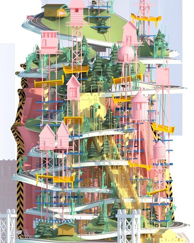 'Pastel-coloured hillside.' Illustration: Felicity Barbur