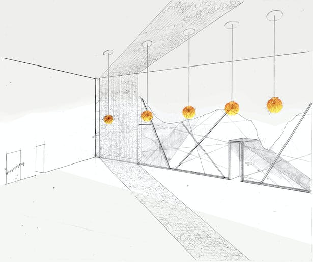 Hand Drawn Perspective of the Interior of the Film School