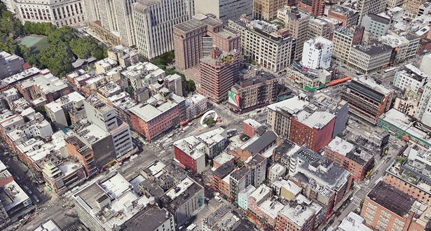 The Canal Street Triangle with surrounding neighborhoods Tribeca, Little Italy, and the Lower East Side