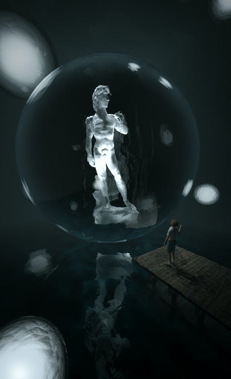3D Visualization competition entry! 'Display the famous David in any way you want in a 12m*12m*12m gallery'