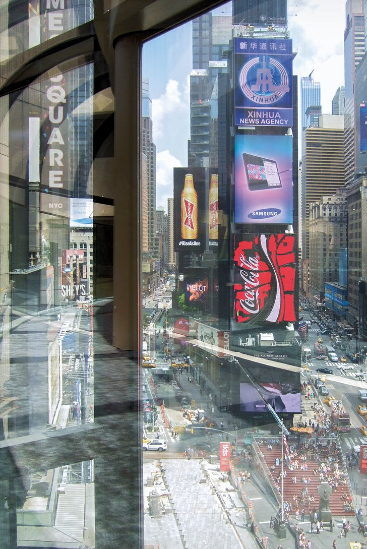 Times Square, as seen from John Portman's Times Square Hotel. Photograph by McLain Clutter.