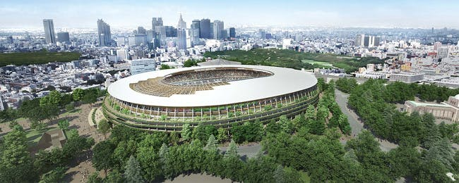 Kengo Kuma's design, which some allege bears striking similarities to the ZHA design. Image: Japan Sports Council