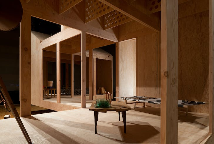 An interior perspective of the Corridor House. Image courtesy of MOS Architects