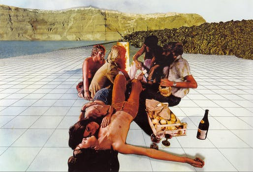 "Superstudio, ""Life, Supersurface (Fruit and Wine),"" 1972/Photo: Archive Cristiano Toraldo di Francia via the New York Times"