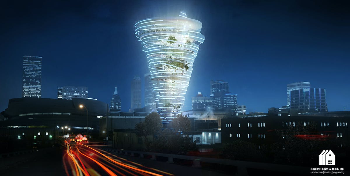 KKT architects envision tornado-shaped tower for downtown