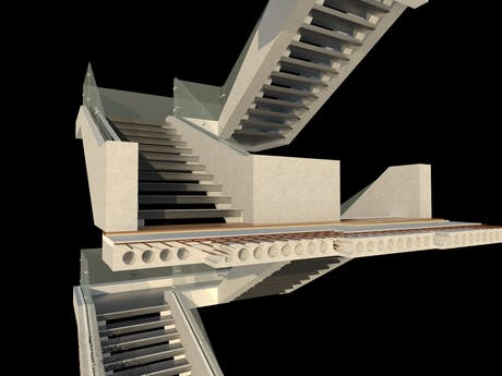 A stair with the combination of concrete and glass
