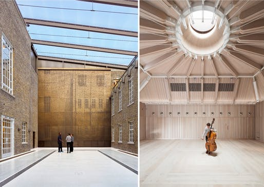(Left) Hackney Town Hall; designed by Hawkins/Brown. Photo Credit: Siobhan Doran. (Right) Royal Academy of Music – The Susie Sainsbury Theatre & The Angela Burgess Recital Hall; designed by Ian Ritchie Architects. Photo Credit: Adam Scott.