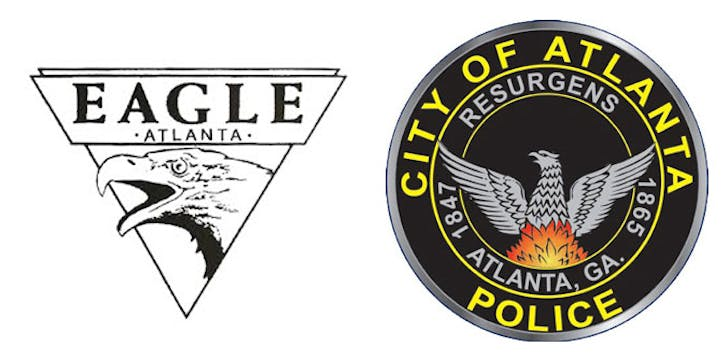 The two eagles of Atlanta: (left) the logo for the Eagle, a gay bar; and (right), the seal of the Atlanta Police Department.