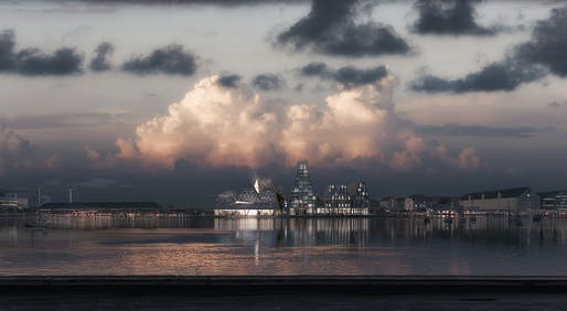Waterfront Culture House competition winning entry by Kengo Kuma & Associates. Image: Luxigon.