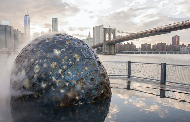 Metamorphosis for NASA's Rosetta mission, installed in New York City. Installation Design by Jason Klimoski, StudioKCA. Photo by Davide Delgado.