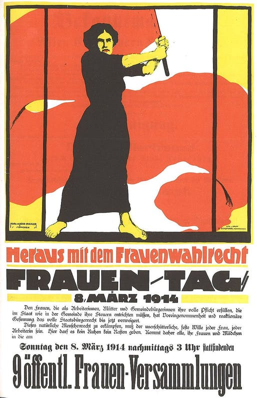 A poster from a 1914 Women's Day March in Berlin. Image via public domain.
