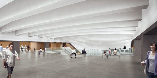 Museum lobby, looking east. Image courtesy of the architects.