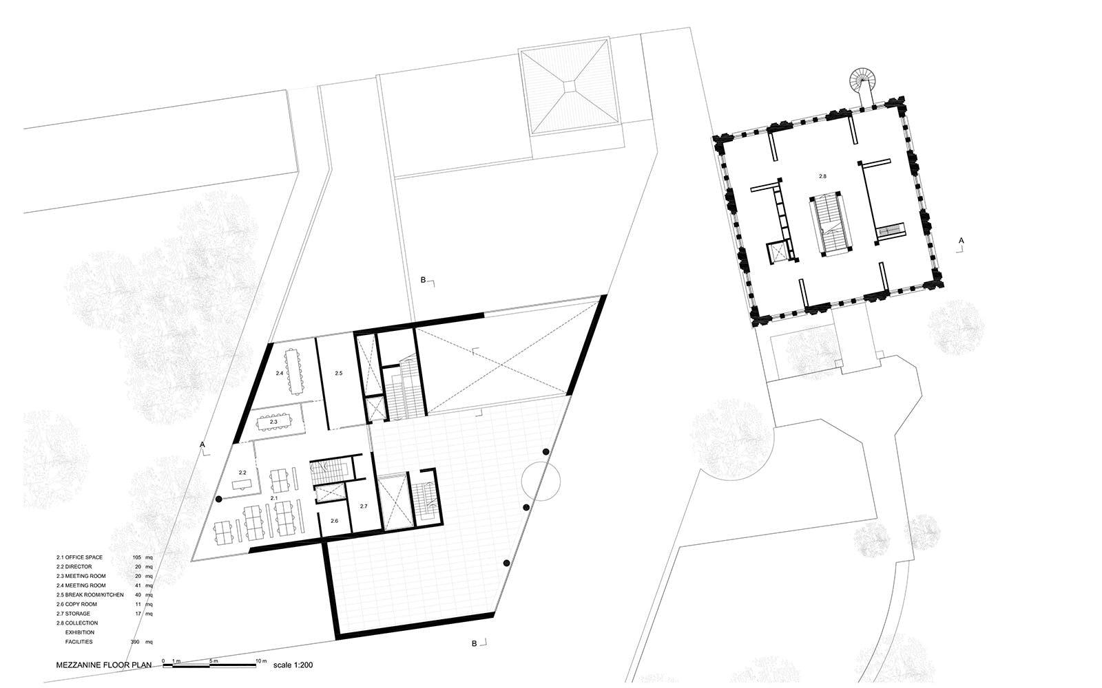 Tampere art museum and pyynikintori square carlo rivi for Mezzanine floor plan