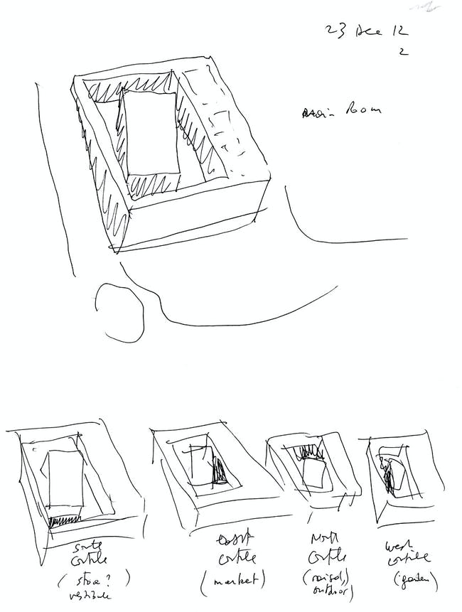 Bernard Tschumi Architects, ANIMA Cultural Center in Grottammare, Italy. General building strategy: the main room and the four courtyards (sketch by Bernard Tschumi).