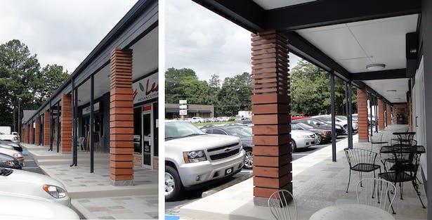 New columns on the walkway