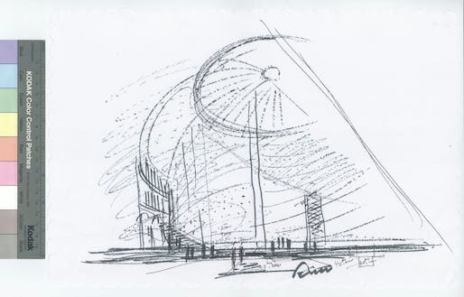 Tadao Ando's sketch for the new museum inside the former stock exchange Bourse de Commerce. Image: Tadao Ando Architect & Associates / Collection Pinault