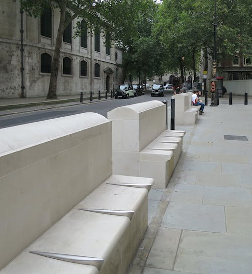London bench with 'defensive' dividers. Image via Alan Stanton/flickr.