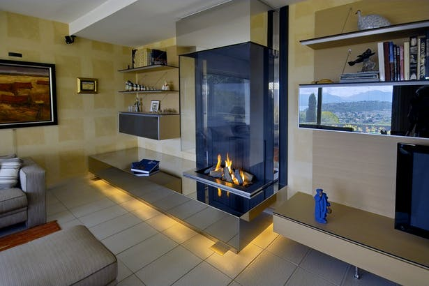 Bloch Design contemporary fireplace stainless steel 1