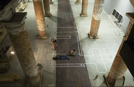 Anupama Kundoo and her team prepare to set up their installation, 'Building Knowledge,' in the Arsenale in Venice. Image credit: Marta San Vicente