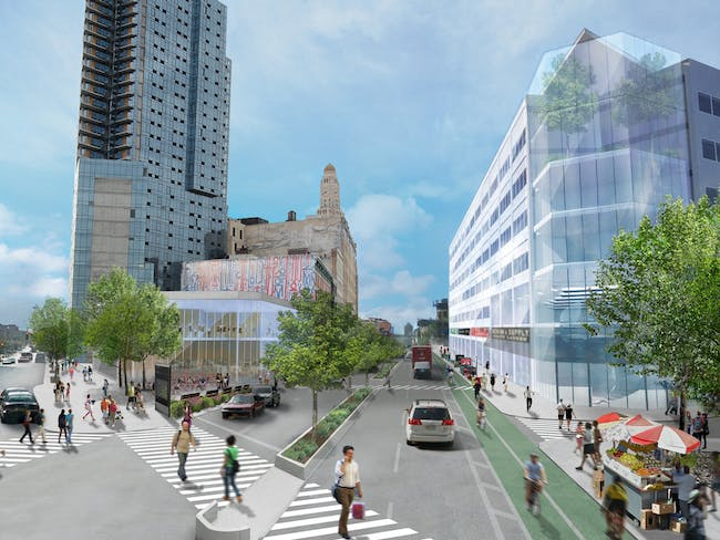 A rendering of the reinvented Fox Square, intended to be a kind of Times Square for Brooklyn. The site's reinvention could include digital concrete, embedding sensors and other LED lighting effects to improve the plaza.