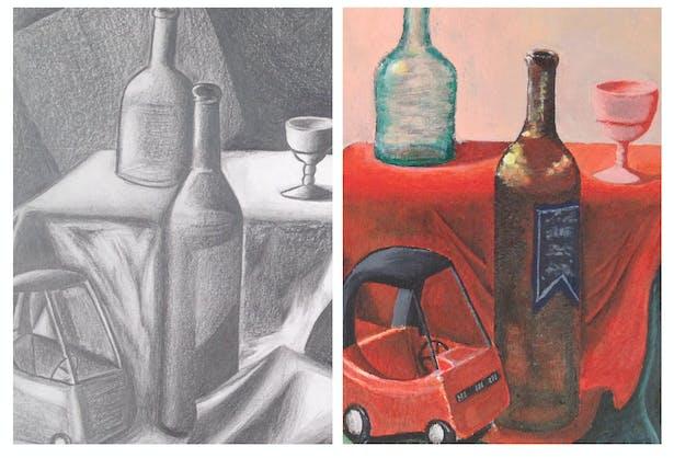 Still life, left, pencil drawing; right, acrylic