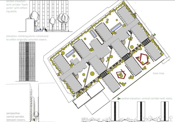(From bottom left to bottom right, clockwise): Elevation of central axis, section of rear courtyard, base map, longitudinal cross section of site.