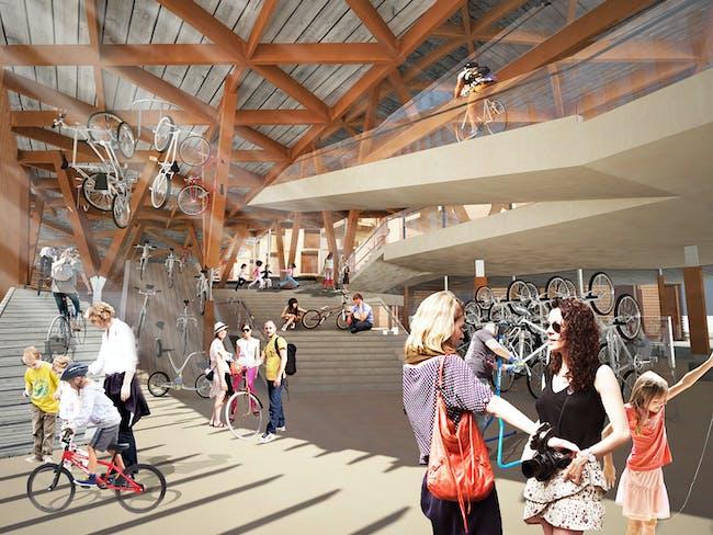 Bikeshop interior view. Image courtesy of Workshop XZ.
