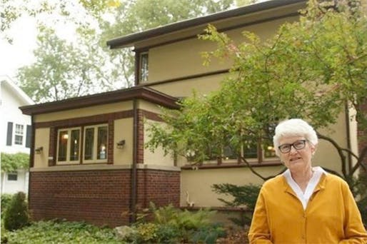Madison, Wis. resident Linda McQuillen in front of her home, which turned out to be a FLW original. Photo by Carrie Antlfinger, via Times Colonist.