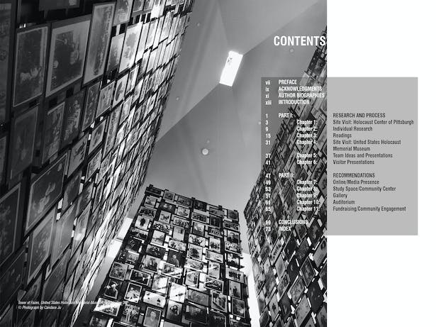 The publication's table of contents. The topics range from existing practices to space recommendations for the Holocaust Center of Pittsburgh.