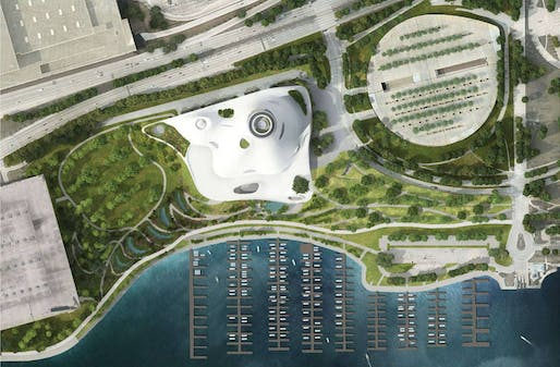 What could have been: the aerial view of the Lucas museum's former site in Chicago. Image: MAD Architects