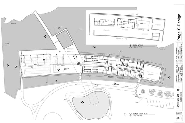 Floor Plan showing lockers, showers, and office space.