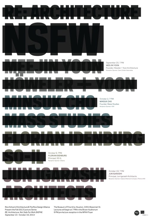 Poster for RDA/RSA's 'Re: Architecture [NSFW]' Fall '13 lecture series. Design by Ian Searcy.