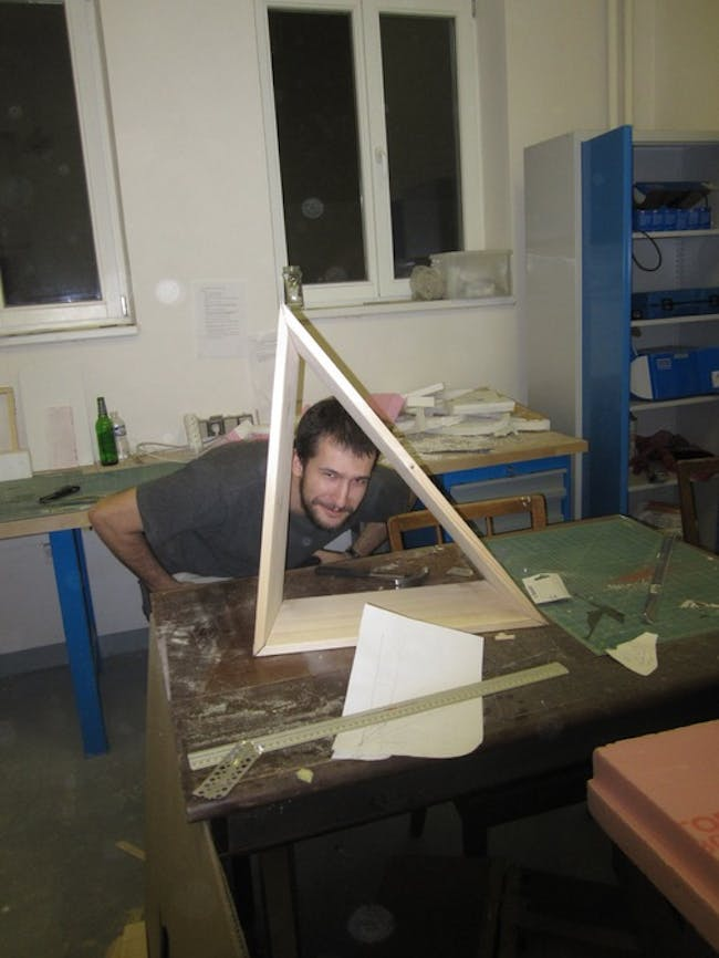 member of Team A (aka 'Cold Pop') working on pavilion design for the 2013 Prague ReSITE Festival, at Architectural Institute in Prague (ARCHIP)