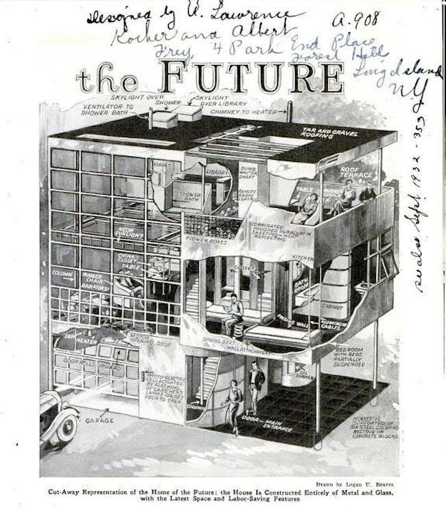 A drawn representation describing the Aluminaire House as 'the Home of the Future'.