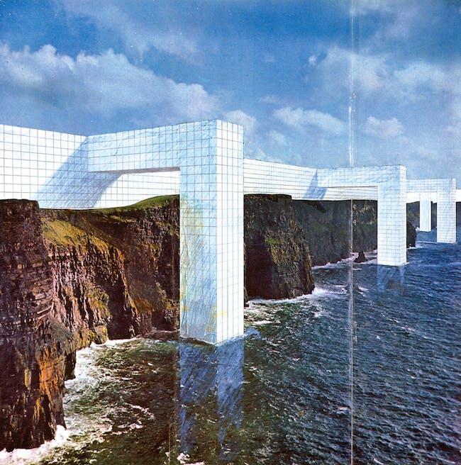 """Superstudio, """"The Continuous Monument (On the Rocky Coast),"""" 1969/Photo: Archive Cristiano Toraldo di Francia via the New York Times"""