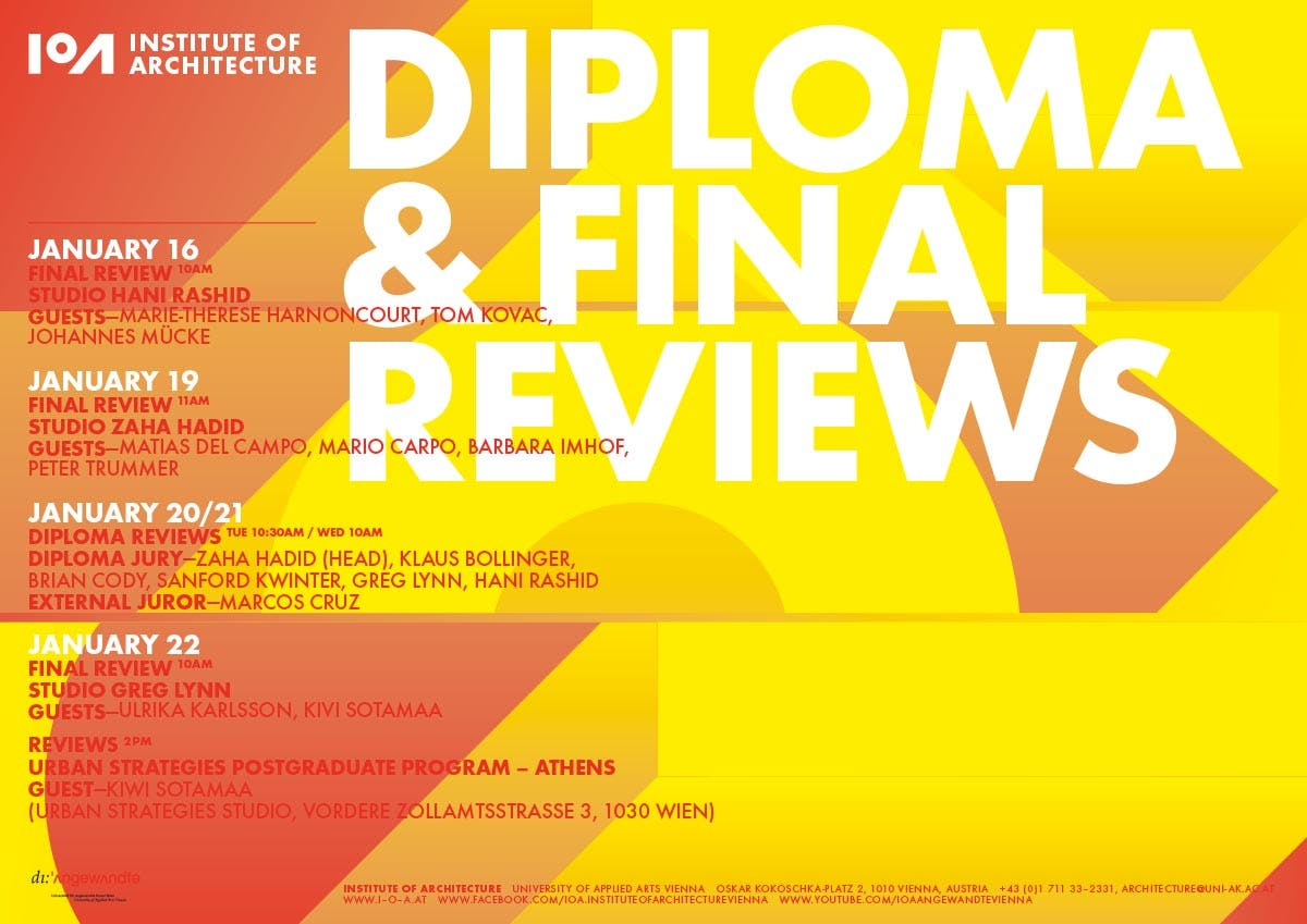 Ioa Diploma And Final Reviews Institute Of Architecture At The University Of Applied Arts Vienna Archinect