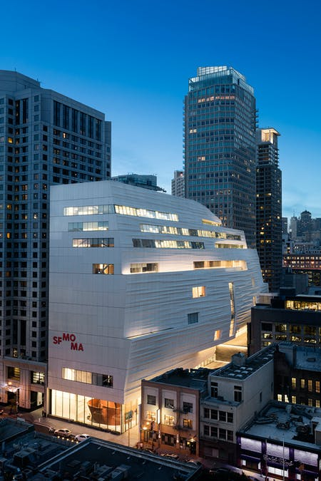 The Snøhetta-expanded SFMOMA, from Howard Street; photo: © Henrik Kam, courtesy SFMOMA.